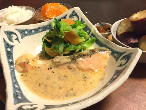 Feb25_鮭のきのこクリーム煮