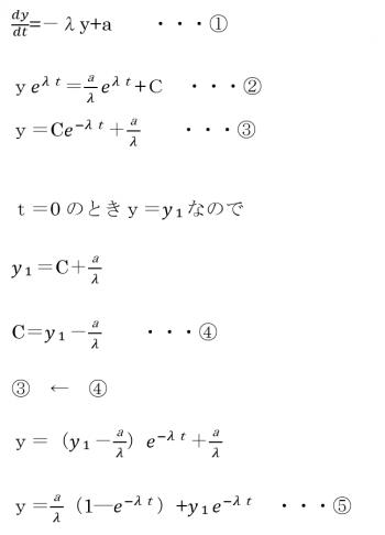 放射性物質体内蓄積シミュレーション初期値がゼロでない式
