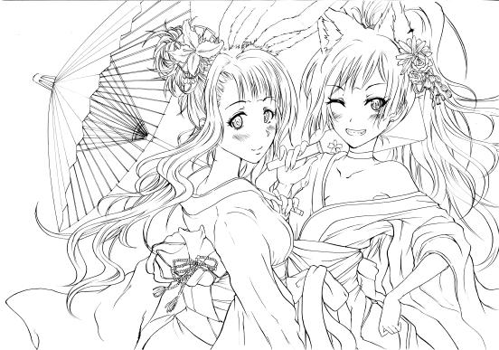 Grace【エリィ&ルビィ】謹賀新年イラスト線画