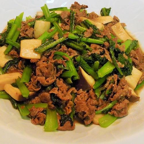 20151221牛小間と小松菜の炒め物