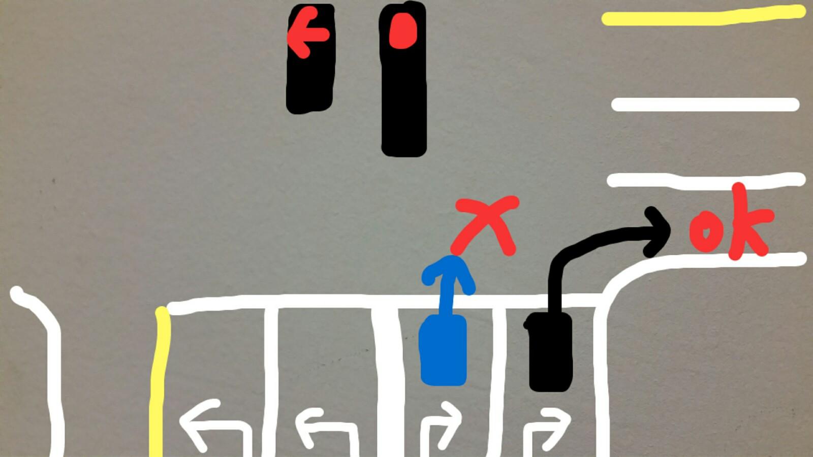 グアム赤信号右折2車線