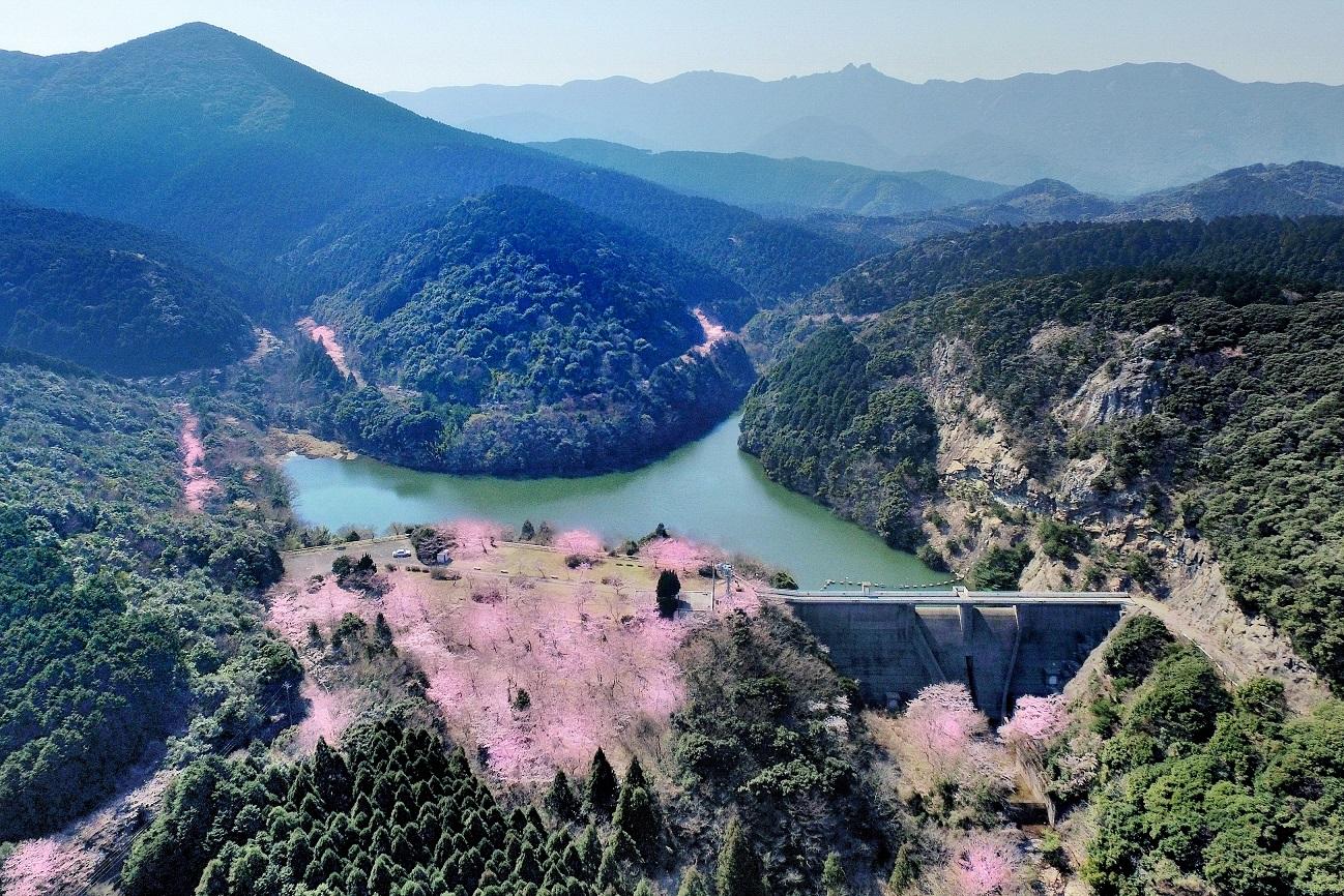 4鶏知ダムと白嶽