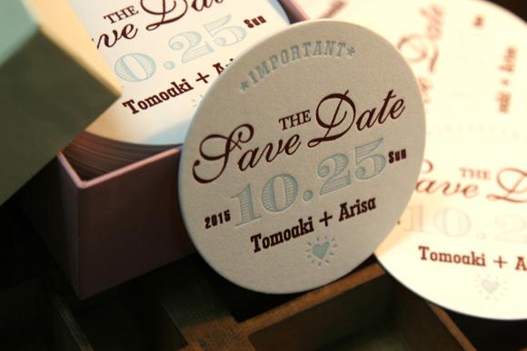 活版印刷のSAVE THE DATE