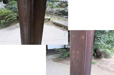東禅寺・本堂の鉄砲玉の穴