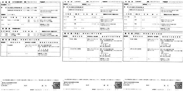 上田建二郎(ペンネーム不破哲三)の津久井土地・建物の登記謄本3枚