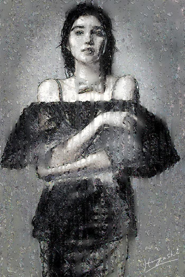 雨を日を悲しむ女