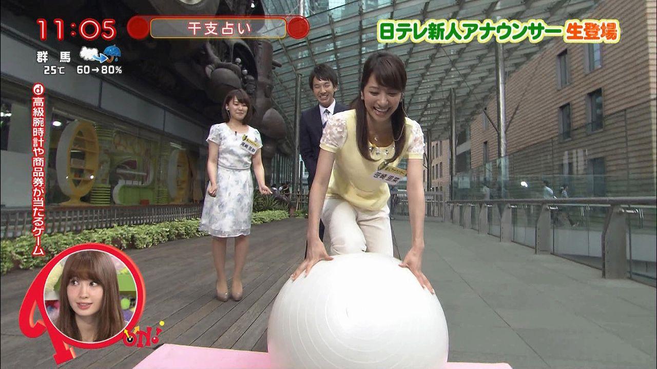 日テレ「PON!」に生出演してバランスポールをする笹崎里菜アナ