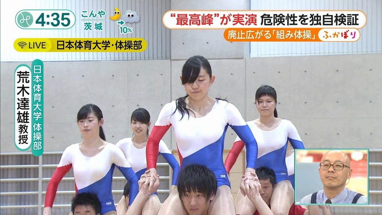フジテレビ「みんなのニュース」、ハイレグのレオタードを着て組体操をする日本体育大学・体操部の女子大生