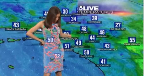 天気予報を伝える女子アナのドレスがクロマキーでスケスケになってしまう放送事故