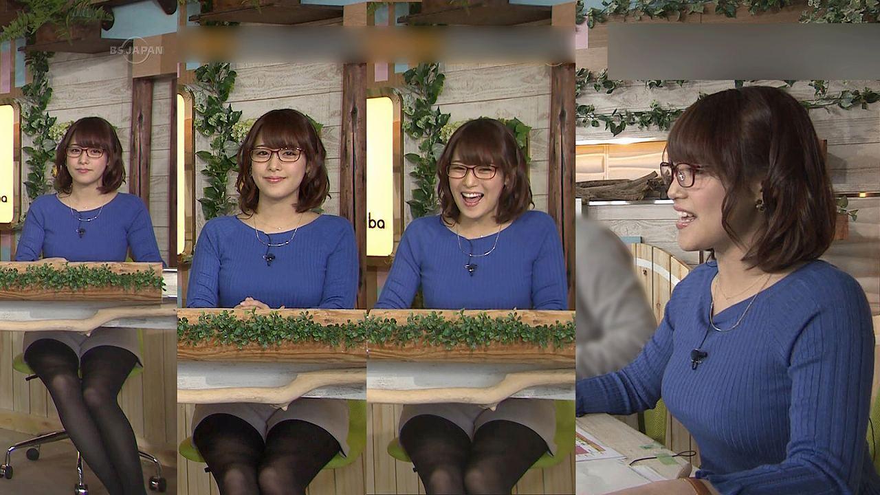 テレ東・鷲見玲奈の着衣巨乳