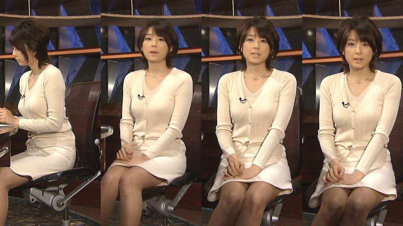 ニュース番組でタイトスカートを履いた秋元優里アナの太もも