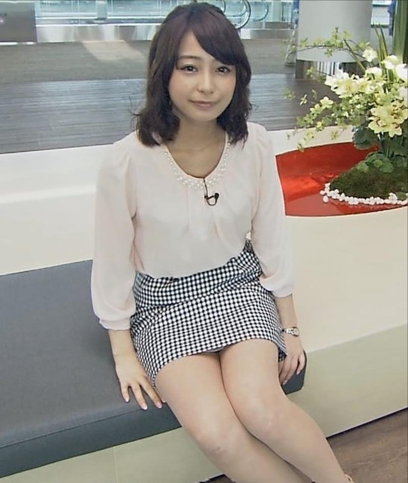 タイトスカートで座った宇垣美里アナの太もも