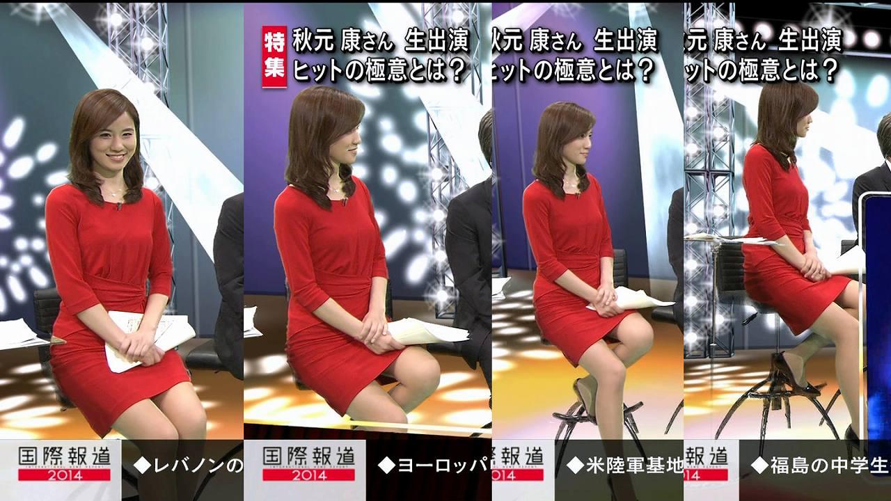 報道番組でミニスカワンピース衣装を着た黒木奈々の太もも