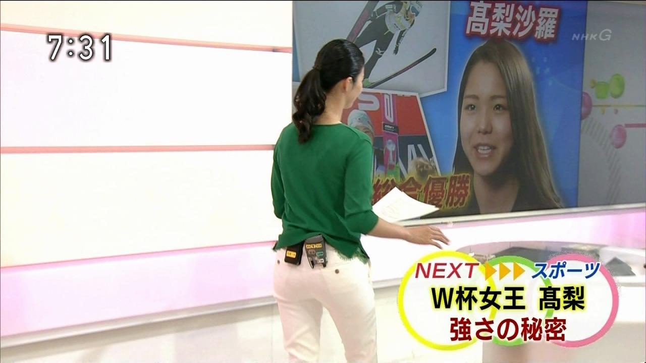 白いピチピチパンツを履いたNHK・森花子アナのお尻