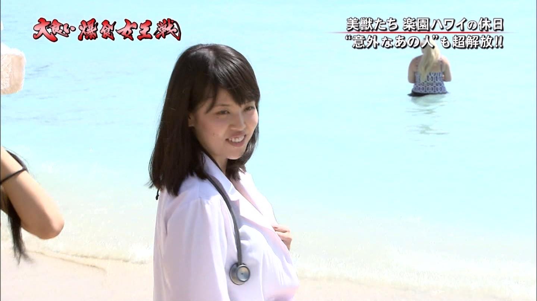 テレ東「元祖!大食い王決定戦~爆食女王 新時代突入戦~」、ハワイのビーチで白衣を着た女医