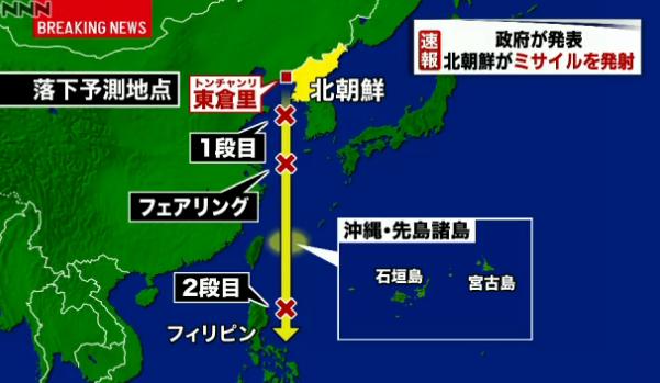 北朝鮮ミサイル発射・軌道