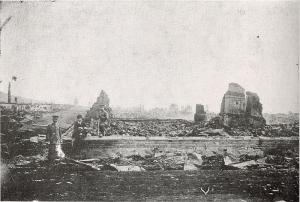 破壊されたニコラエフスクの街