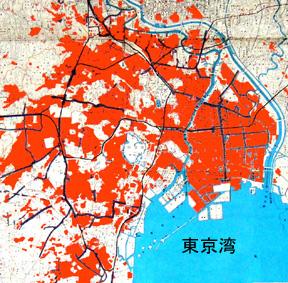 東京大空襲による焼失地