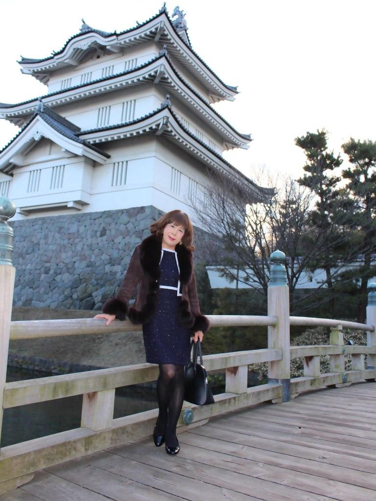 紺スーツと毛皮コートA(1)