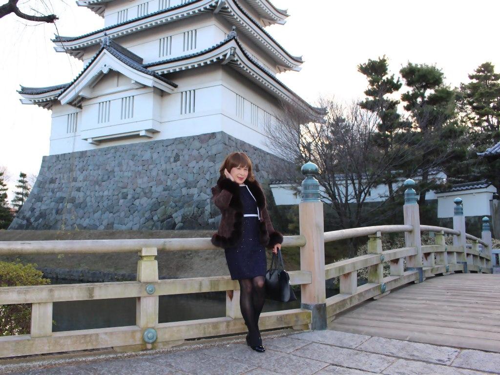 紺スーツと毛皮コートA(4)