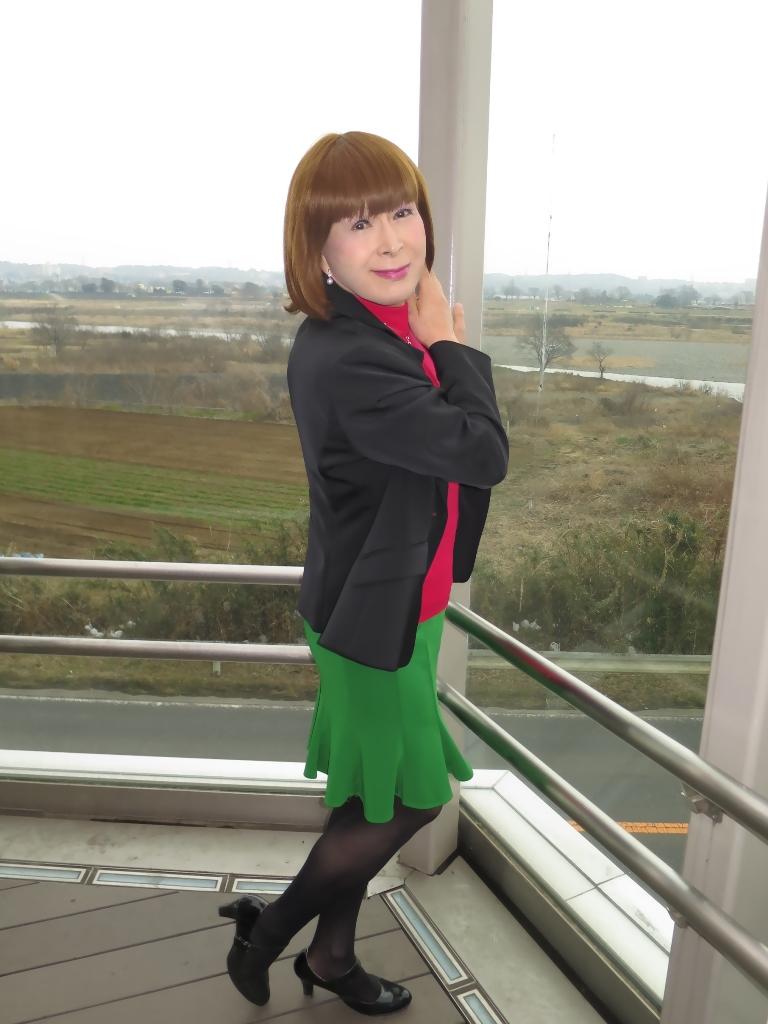 黒ジャケット緑マーメイドスカート(1)