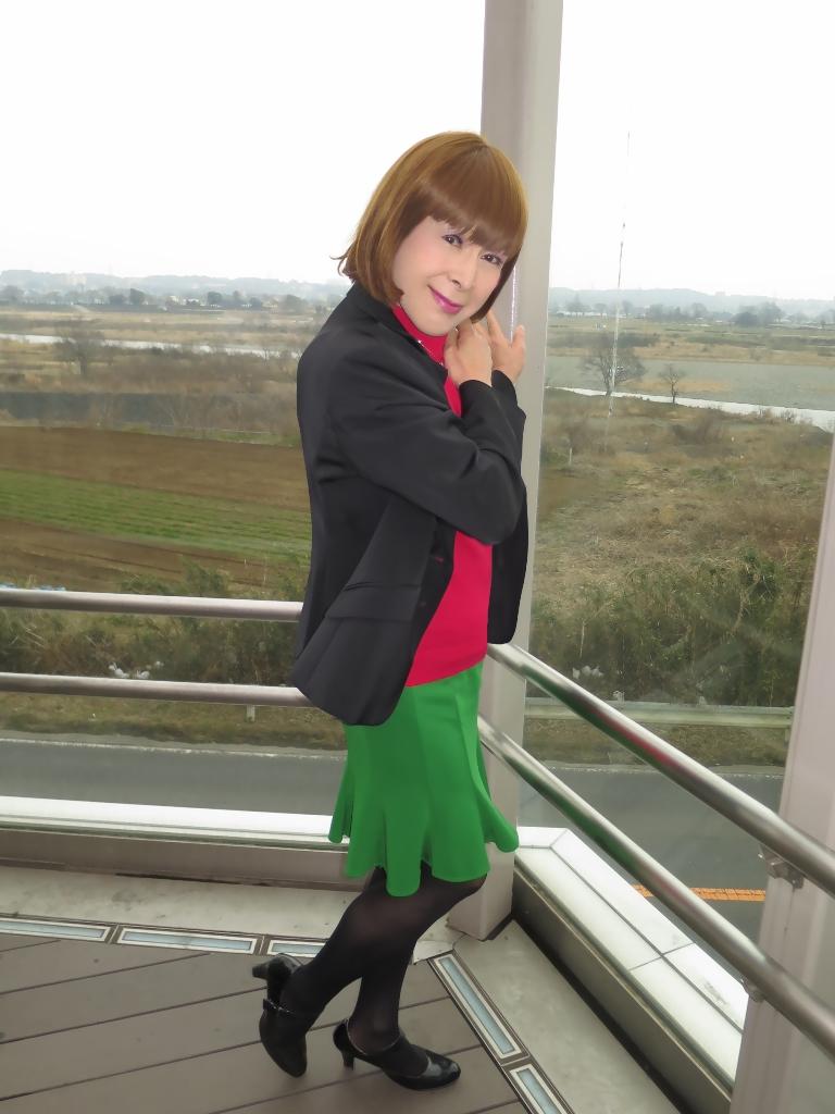 黒ジャケット緑マーメイドスカート(2)