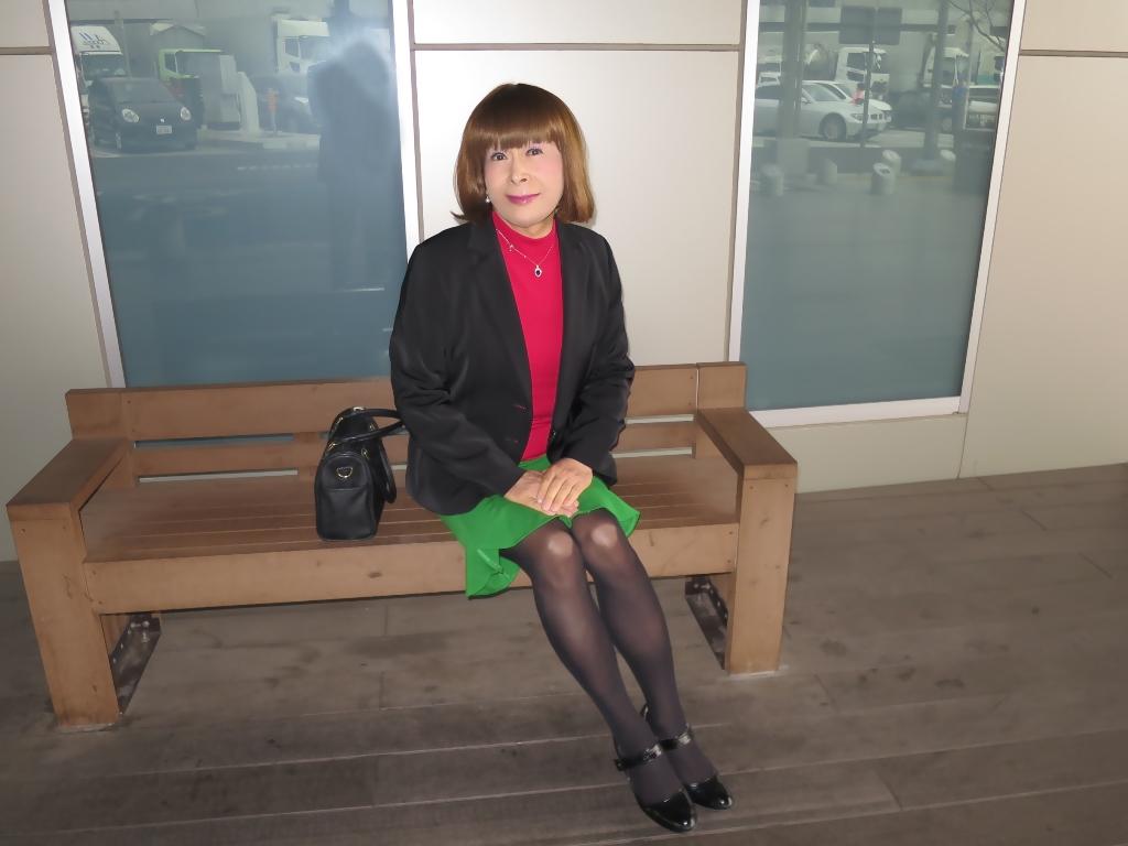 黒ジャケット緑マーメイドスカート(4)