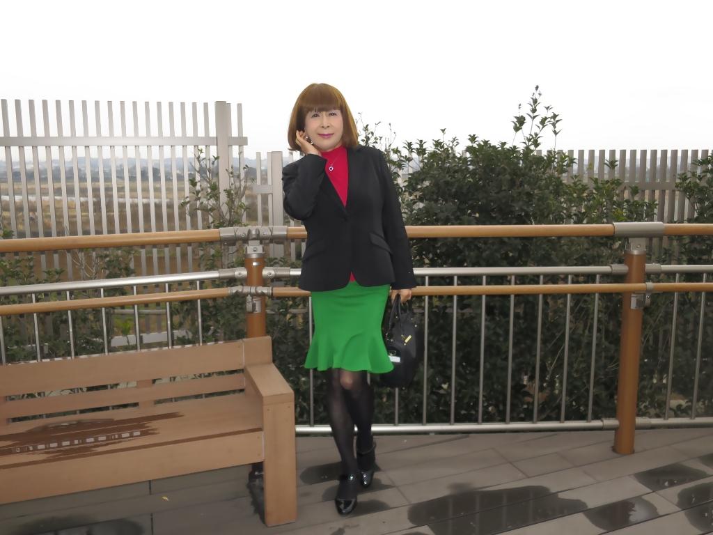 黒ジャケット緑マーメイドスカート(5)