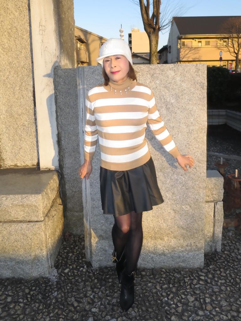 茶ボーダーセータ白ニット帽A(4)