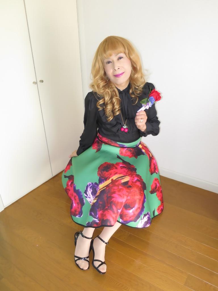 大花柄フレアスカートB(5)