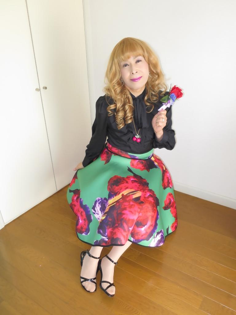 大花柄フレアスカートB(7)