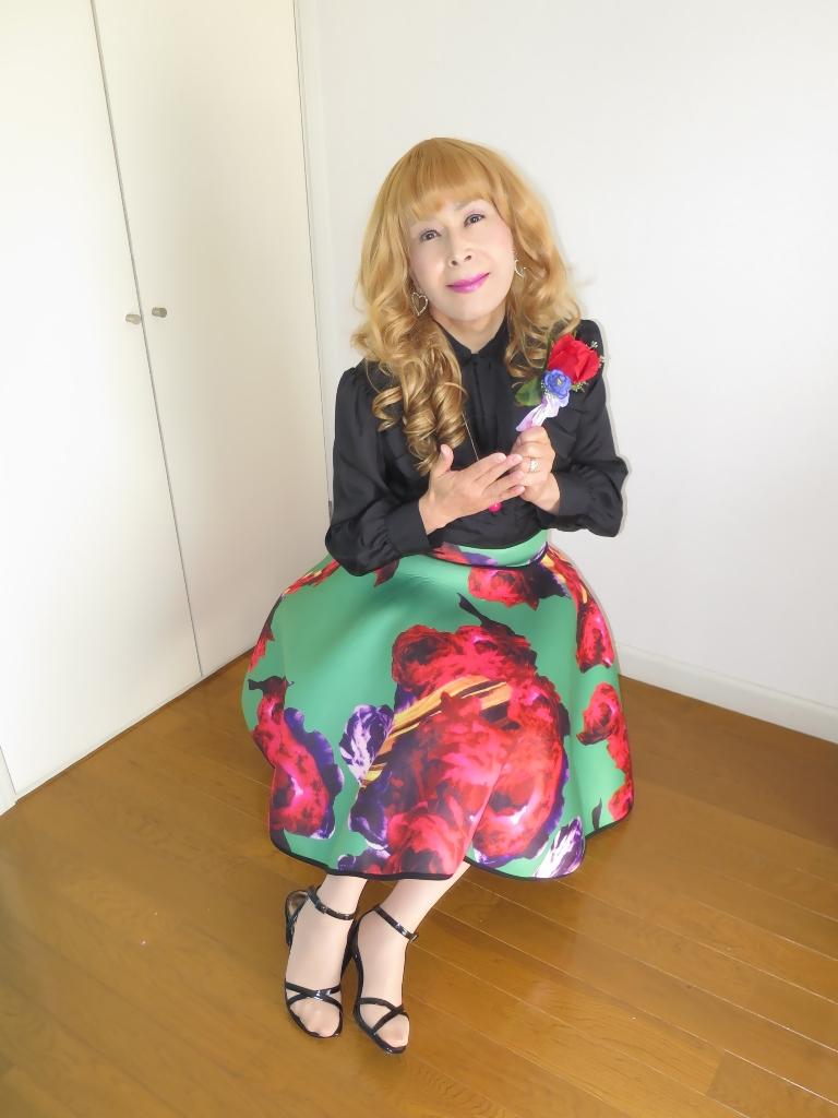 大花柄フレアスカートB(8)
