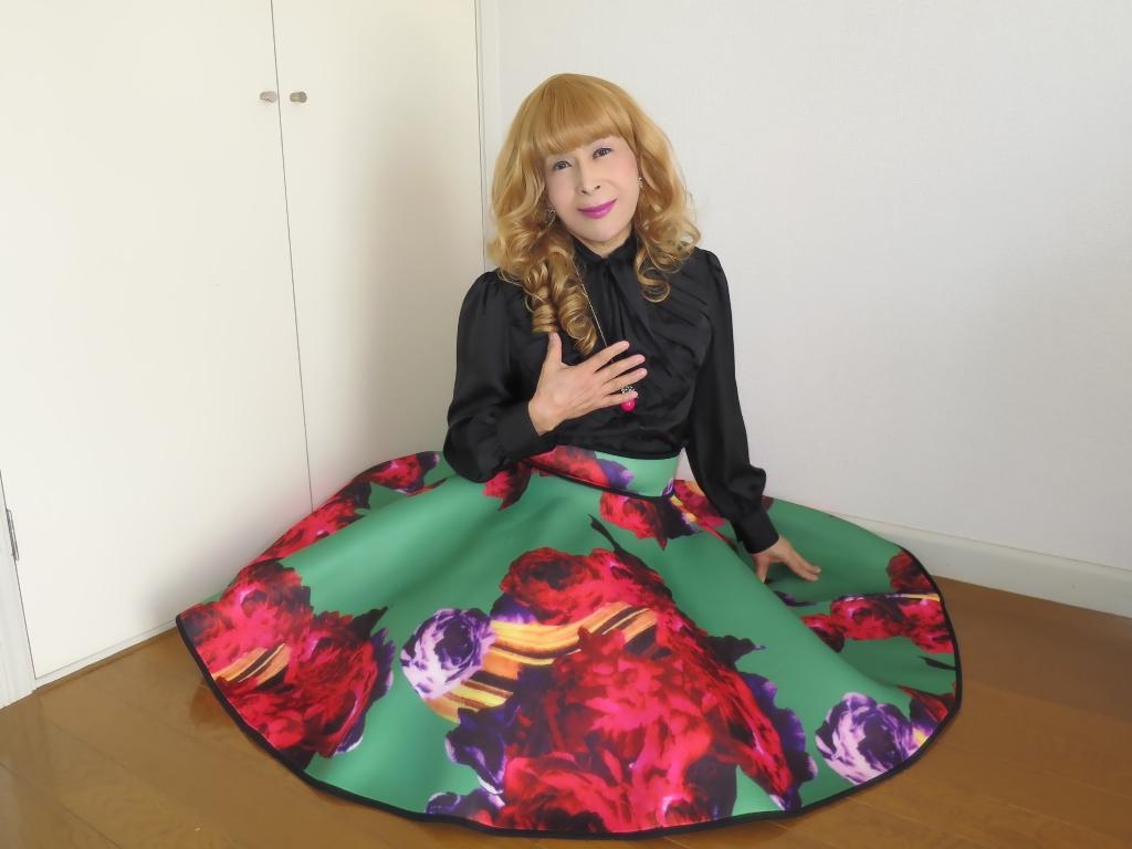 大花柄フレアースカートC(1)