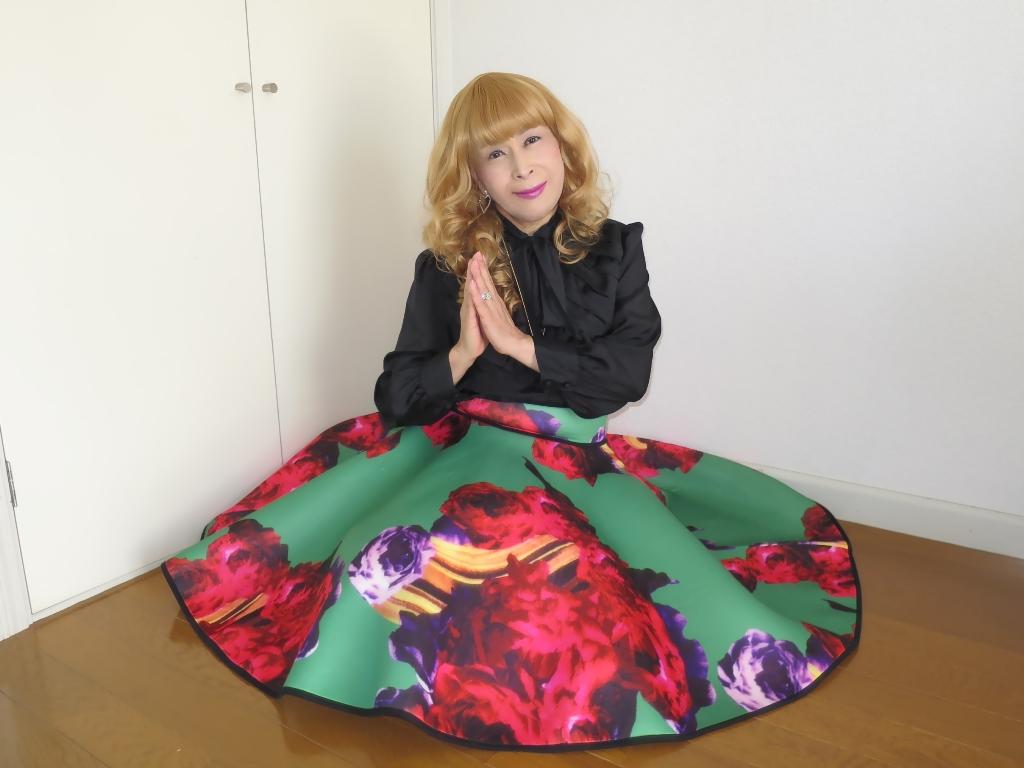 大花柄フレアースカートC(4)