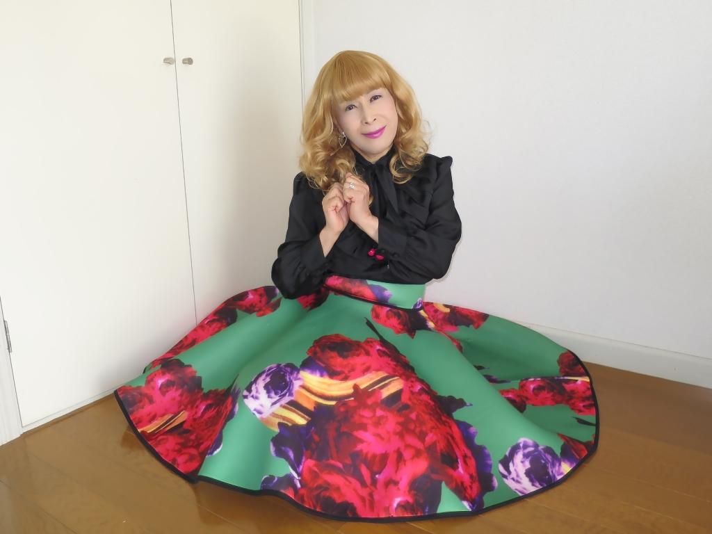 大花柄フレアースカートC(5)