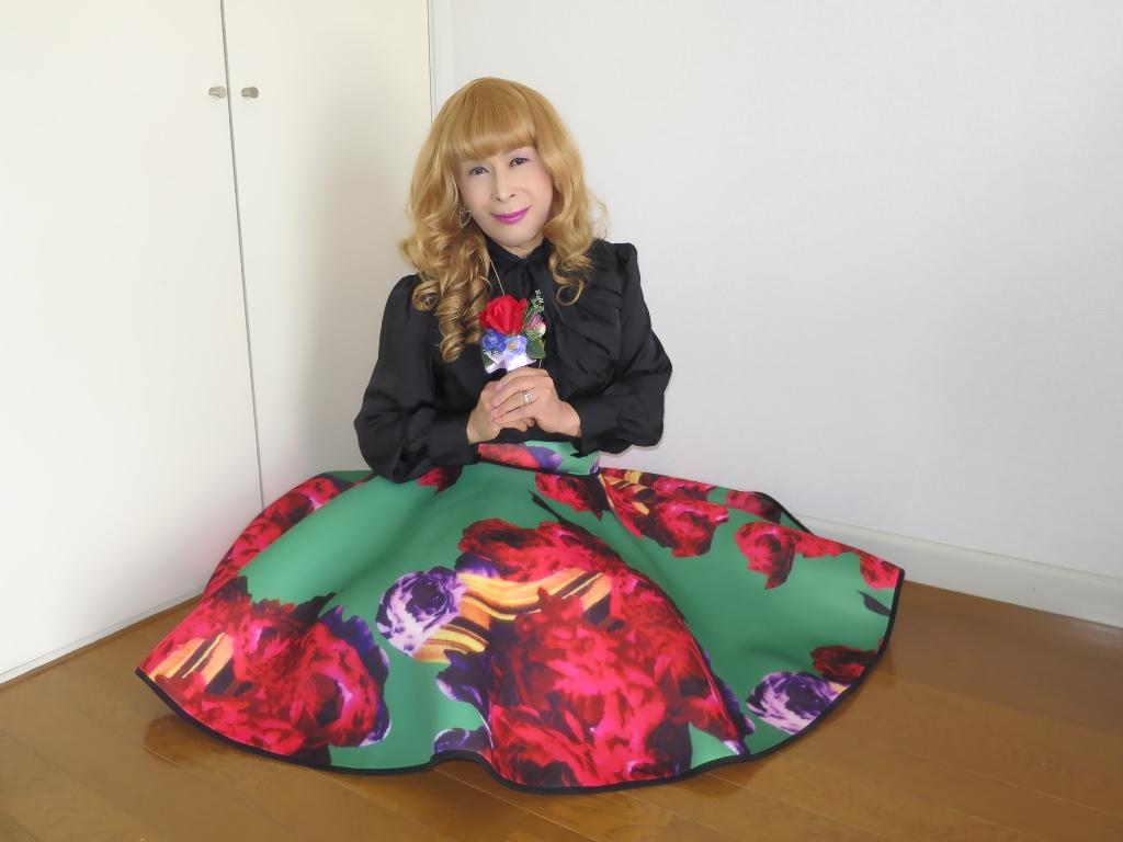 大花柄フレアースカートC(6)