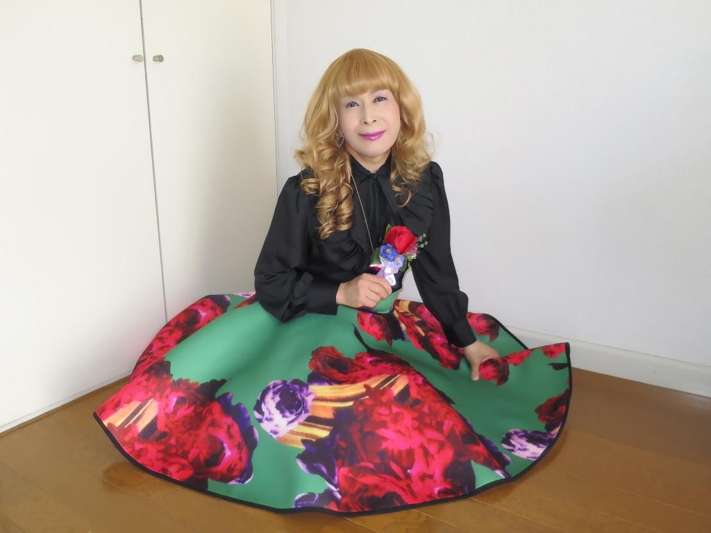 大花柄フレアースカートC(7)