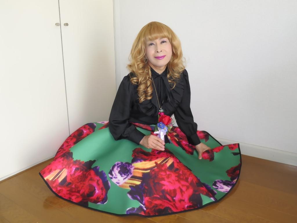 大花柄フレアースカートC(8)