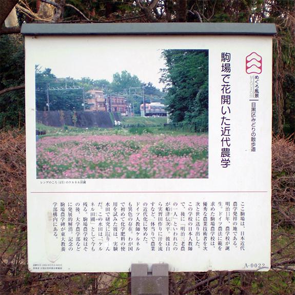 東京駒場近代農業の案内板