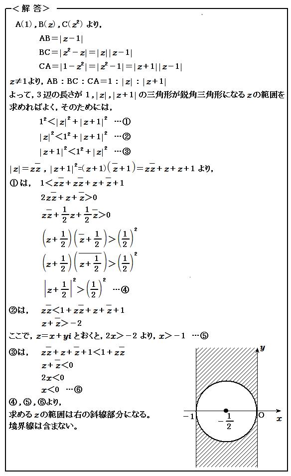 2016 東京大学理科 第4問 複素数 解答