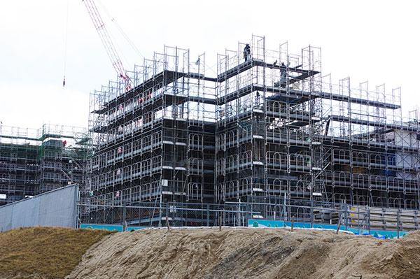山田町 中心街の建設現場