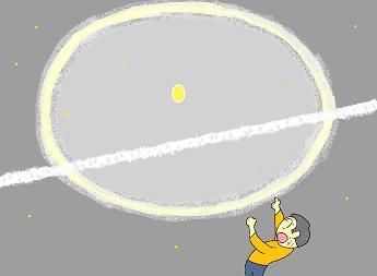 月に輪飛行機雲