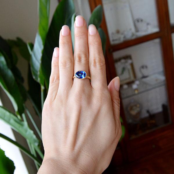 K18YG製カイヤナイトリング指輪艶消しブラストハンドメイド手作り加工