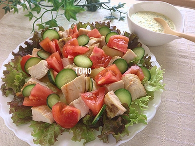 鶏胸肉の親子サラダ