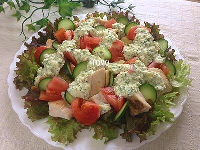 鶏胸肉の親子サラダ1