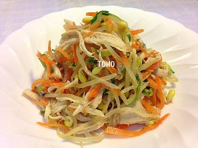 鶏胸肉 de ナムル風サラダ
