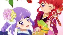 yandeare 340129 aikatsu! autographed hikami_sumire kimono kurebayashi_juri watanabe_satomi