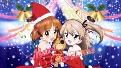 yandeare 341917 christmas girls_und_panzer nishizumi_miho shimada_arisu yoshida_nobuyoshi