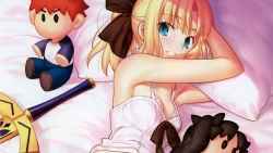 yandeare 342049 cleavage emiya_shirou fate_stay_night fate_unlimited_codes lingerie saber saber_lily sword takeuchi_takashi toosaka_rin type-moon
