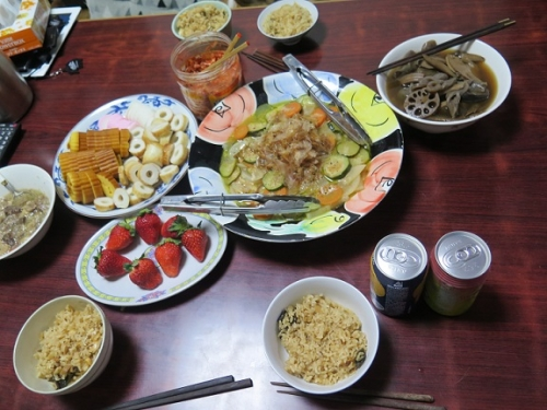 鯛とアワビ飯の晩御飯